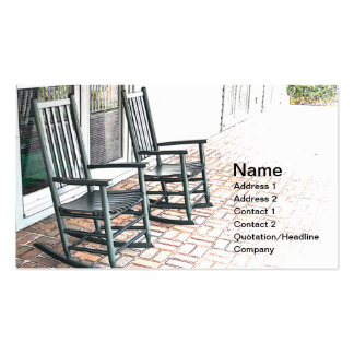 two outdoor black wooden rocking chairs business cards