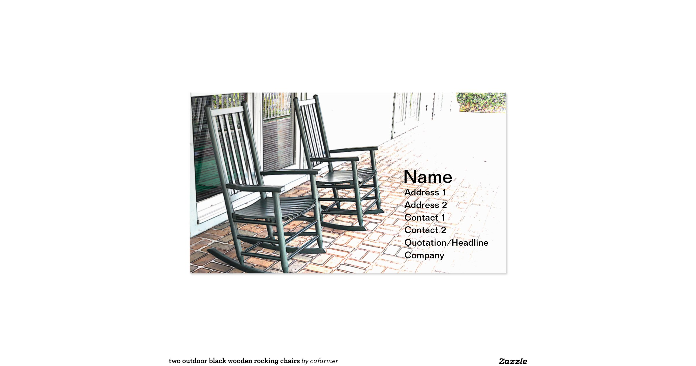 two outdoor black wooden rocking chairs double sided standard business cards