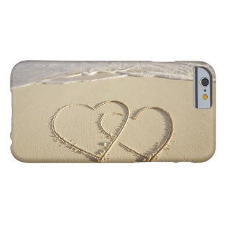 Two overlying hearts drawn on the beach barely there iPhone 6 case