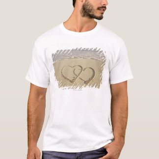 Two overlying hearts drawn on the beach T-Shirt