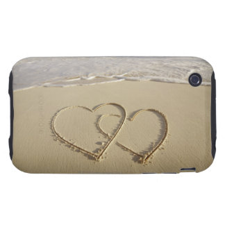 Two overlying hearts drawn on the beach with tough iPhone 3 cover