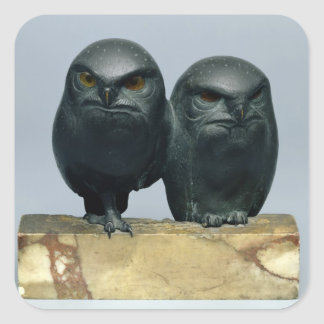 Two Owls, 1903-04 Square Sticker