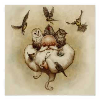 Two Owls, A Hen, Four Larks and a Wren Poster