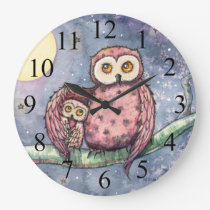 Two Owls and a Moon Kids Wall Clock