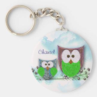 Two owls design basic round button keychain