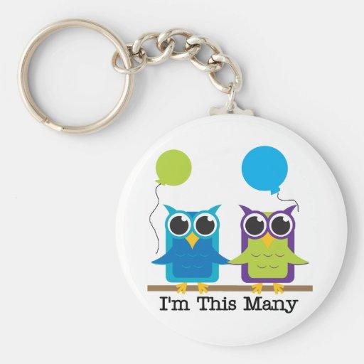 Two Owls I'm This Many Birthday Tshirts Basic Round Button Keychain