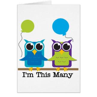 Two Owls I'm This Many Birthday Tshirts Card