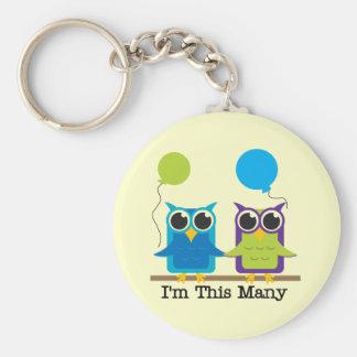 Two Owls I'm This Many Birthday Tshirts Keychain