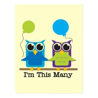 Two Owls I'm This Many Birthday Tshirts Postcards
