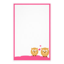 Two Owls in Love Stationery