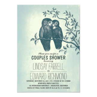 two owls in love & tree branch couples shower invitation