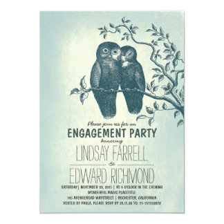 two owls in love & tree branch engagement party card