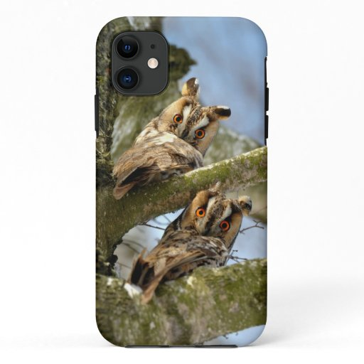 Two Owls in the Woods, birds, wildlife Case-Mate i