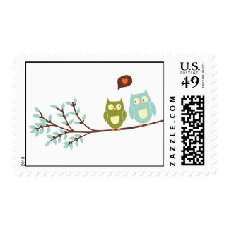 Two Owls on Branch Accent Postage