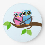 Two Owls Round Wall Clocks