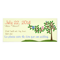 Two Owls Save the Date Card