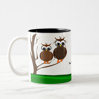Two Owls Sitting in a Tree - Mug