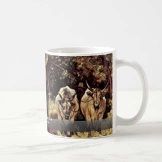Two Oxen In The Olive Grove By Fattori Giovanni Coffee Mug
