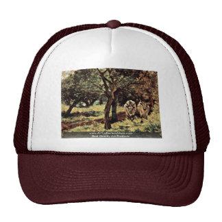 Two Oxen In The Olive Grove By Fattori Giovanni Mesh Hat