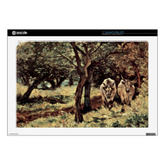 """two oxen in the olive grove by Giovanni Fattori 17"""" Laptop Decal"""