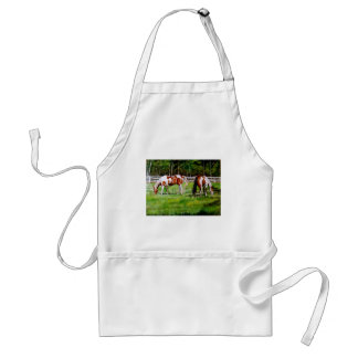 Two Paint Horses grazing Adult Apron