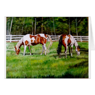Two Paint Horses grazing Card