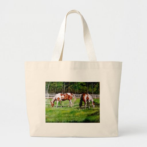 Two Paint Horses grazing Large Tote Bag