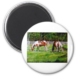Two Paint Horses grazing Magnet