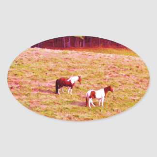 Two Painted Horses Oval Sticker