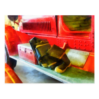 Two Pairs of Boots on Fire Truck Postcard