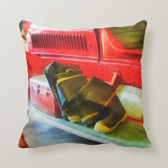Two Pairs of Boots on Fire Truck Throw Pillow