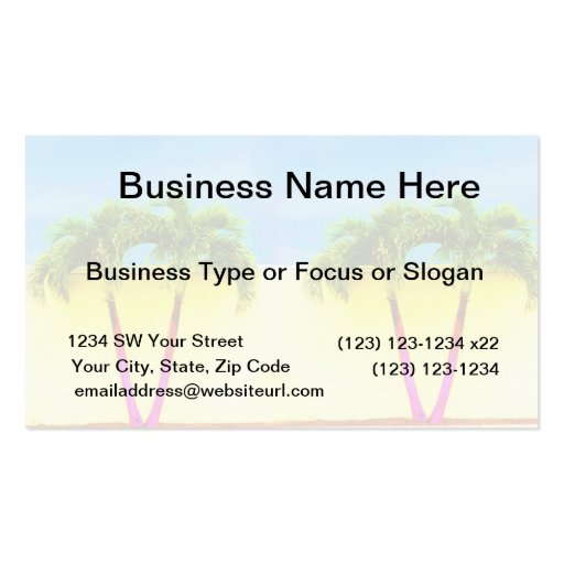 Two Palm Retro Trees Sky Faded Double-Sided Standard Business Cards (Pack Of 100)