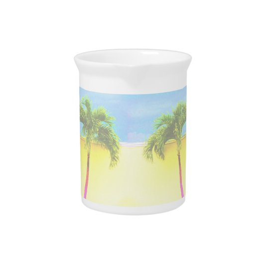 Two Palm Retro Trees Sky Faded Drink Pitcher