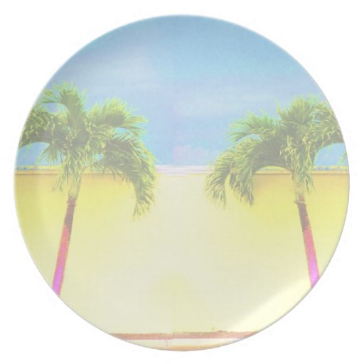 Two Palm Retro Trees Sky Faded Party Plates