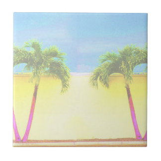 Two Palm Retro Trees Sky Faded Small Square Tile