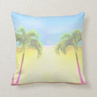 Two Palm Retro Trees Sky Faded Throw Pillow