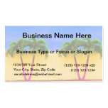 Two Palm Retro Trees Sky Yellow Business Card