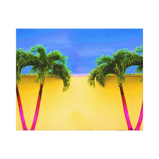 Two Palm Retro Trees Sky Yellow Canvas Print
