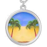 Two Palm Retro Trees Sky Yellow Custom Jewelry