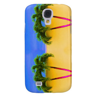 Two Palm Retro Trees Sky Yellow Galaxy S4 Case