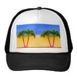 Two Palm Retro Trees Sky Yellow Mesh Hats