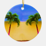 Two Palm Retro Trees Sky Yellow Ornaments
