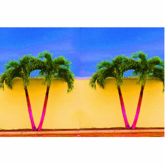 Two Palm Retro Trees Sky Yellow Cut Out