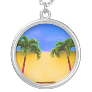 Two Palm Retro Trees Sky Yellow Silver Plated Necklace