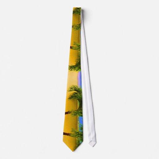 Two Palm Retro Trees Sky Yellow Tie