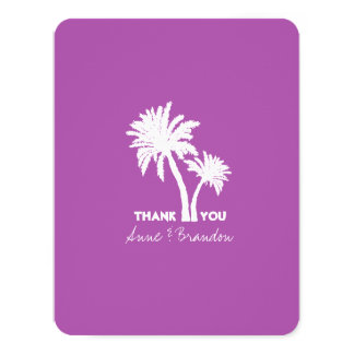 Two Palm Trees Purple Wedding Thank You Cards