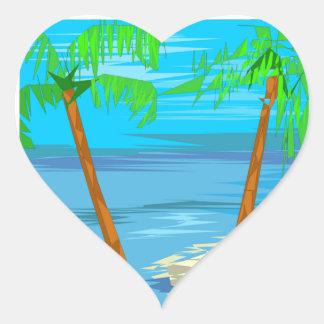 Two Palm Trees Wedding Hearts Heart Sticker