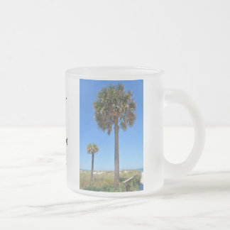 Two Palms on Florida Beach Frosted Glass Coffee Mug