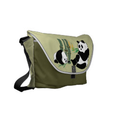 Two Pandas With Mango And Bamboo On Messenger Bag at Zazzle