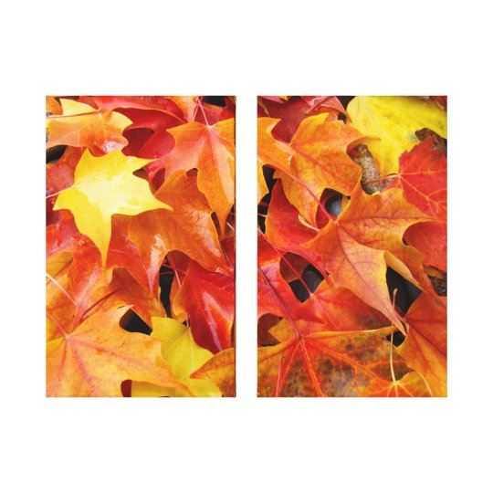 Two Panel Canvas Photography Autumn Leaves